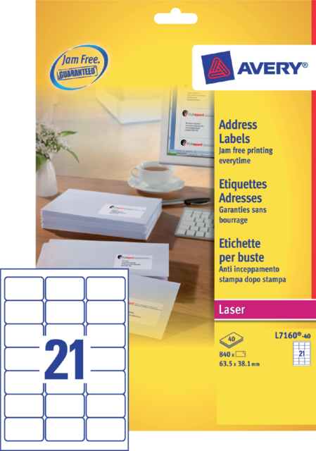 ETIKET AVERY L7160-40 63.5X38.1MM 840ST